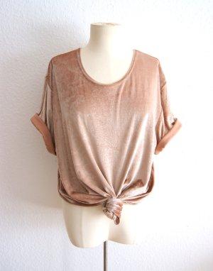 Vintage Samtshirt nude-gold, oversized Shirt Schlangenmuster gold, 80er festival grunge