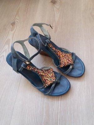 Vintage Sandalen Perlen Laura Scott 38 blau