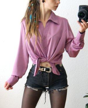 Vintage Satinbluse altrosa-flieder, oversized Bluse Satin, preppy blogger