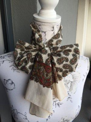 Vintage Schal Tuch mit Ornamenten creme brodeaux