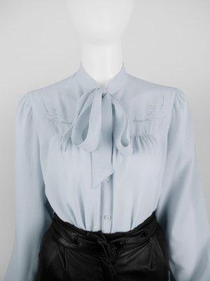 Vintage Schluppen-Bluse mit floraler Stickerei