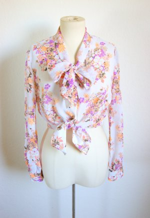 Vintage Schluppenbluse pastell, florale Bluse mit Schleife, 20er preppy blogger alternative