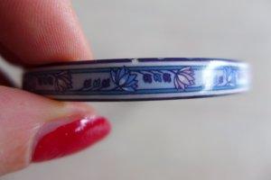 Vintage Schmuck Armband Armreif KEK Emaille blau weiß Blumen Blüten 80er
