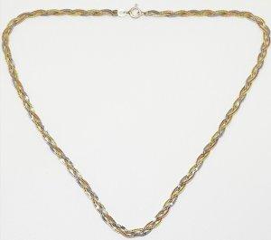 Vintage Schmuck Set 925 Sterling Collier + Armband Tricolor silber, rosėgold & gold