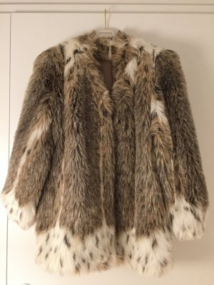 Vintage Schneeleopard Faux Fur Mantel Kunstpelz Kunstfell XS S