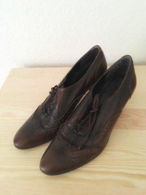 Vintage Schnürschuhe Absatz Absatzschuhe Damen braun 38