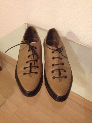 Vintage Schnürschuhe beige schwarz 38 (37,5)