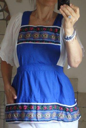 Vintage Schürze, Retro, Baumwolle, blitzblau, blau, rot, weiß, Blumenmuster, Folklore, Tracht, Arbeitskleidung, Taschen, Latz, Mini, kurz, Wäscheklammern Schürze, neuwertig