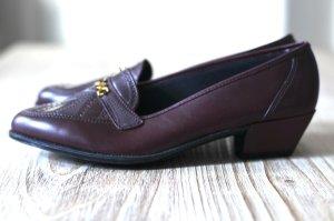 Vintage-Schuh Leder weinrot bordeaux 38 NEU