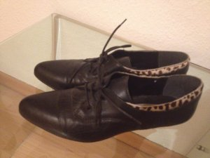 Vintage Schuhe Leopard schwarz Leder 38