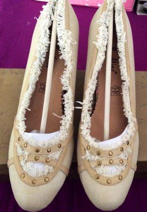 Vintage Schuhe Neu 39 beige schwarz