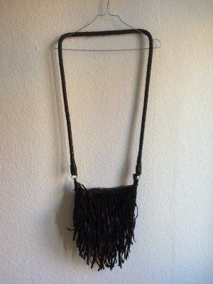 VINTAGE schwarze Fransen-Tasche im Boho-Look