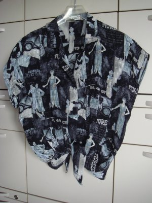 Vintage -  Scirocco Sommer Bluse schwarz creme  40 bis 44  Viskose