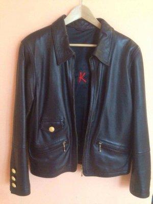 *Vintage- Sehr weiche lässige Designer Lederjacke in schwarz mit goldenen Details von Otto Kern