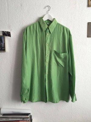 Vintage Seiden Hemd oversize Grün