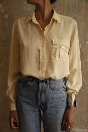 Vintage Seidenbluse Pastell mit Brusttasche Langarm