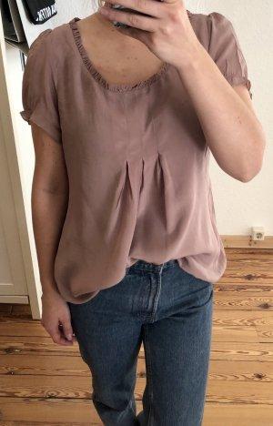 by Ti Mo Zijden blouse stoffig roze Zijde