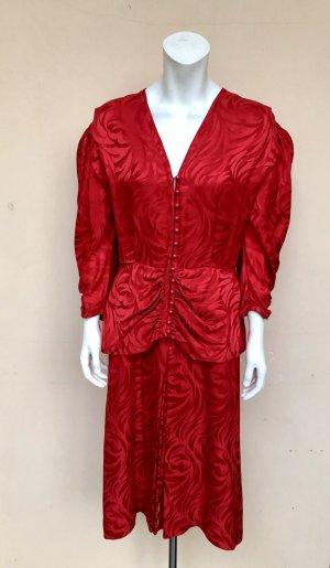 Vintage Seidenkleid Gr. 10 (38) Rot Achtziger Partykleid Animal Print Rot Schulter Knöpfe