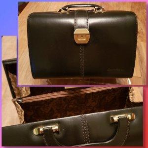 Vintage Serge Agostini Kosmetikkoffer / Tasche Leder schwarz gold