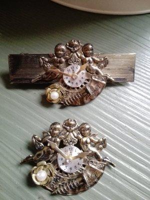 Vintage Set Brosche und Haarspange Putten Engel Deko-Uhr aus USA