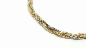 Vintage Set Silber Collier & Armband 925 Sterling Silber Tricolor silber, rosėgold & Gelbgold