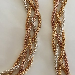 Vintage Set Silber Collier und Armband 925 Sterling Silber Tricolor silber, rosėgold & Gelbgold