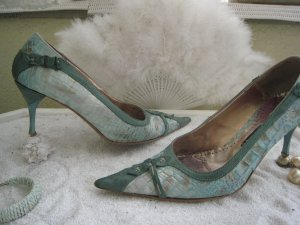 Vintage Sexy Luxus High Heels Türkis & Petrol Reptil Limited Edition sehr hoher NP Top