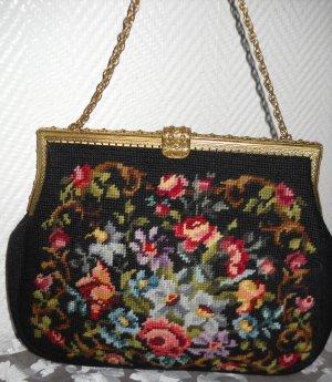 Vintage Shabby Gobelin bunt gold Handtasche Henkeltasche Tasche Blumenmuster