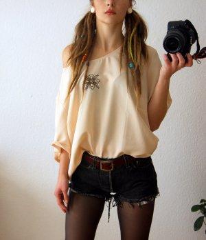 Vintage Camisa crema-marrón oscuro