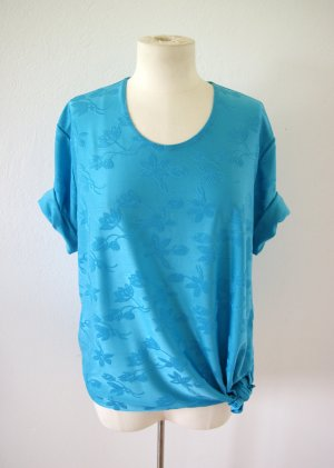 Vintage Shirt cyan, oversized Shirt floral hellblau, boho hippie festival