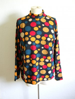 Vintage Shirt mit bunten Punkten 60er, Turtle Neck Sweater