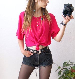 Vintage Shirt neonpink, colorblocking Shirt oversized, 80er Rave Festival