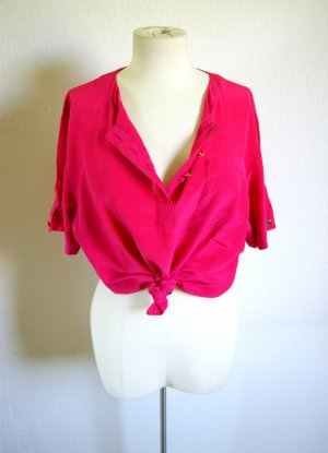 Vintage Shirt neonpink, colorblocking Shirt pink oversized, Festival