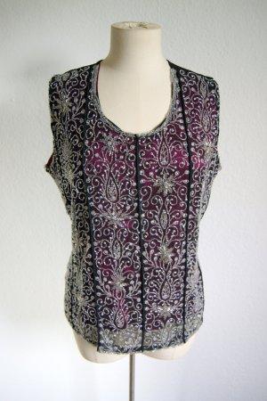 Vintage Shirt pink-kristallweiß, ornamentales Pailletten Shirt oversized, 20er preppy blogger
