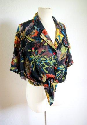 Vintage Shirt Tropical Print plissiert, Hawaiihemd strukturiert, floral Animalprint Festival
