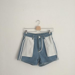 High-Waist-Shorts white-azure cotton