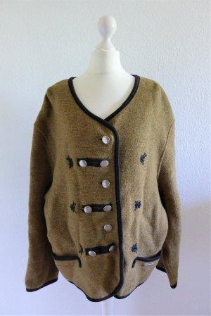Vintage Sigi Scheiber Tracht Jacke Strickjacke Janker beige schwarz Gr. 42/44 L