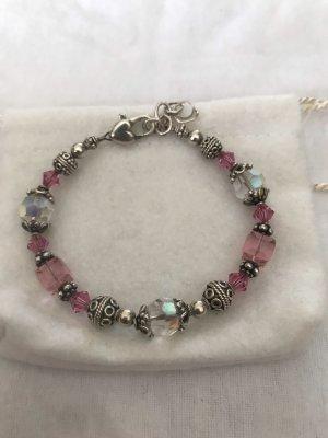 Vintage Silber 925 Bettelarmband Armband Sterlingsilber Beads rosa Glasperlen