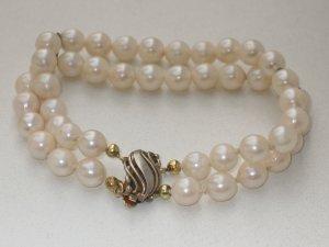 Vintage silber Echtperlen Armband echte PERLEN Perlenarmband im Jugendstil