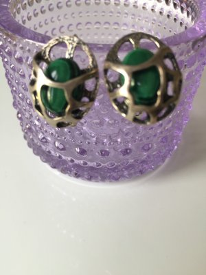 Silver Earrings silver-colored-dark green