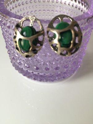 Silver Earrings silver-colored-dark green