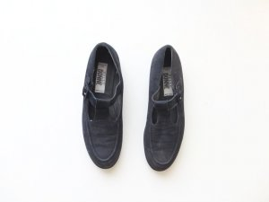 Slippers dark blue-blue leather