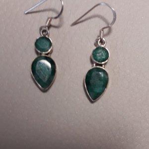 Vintage Smaragd  Ohrringe aus Indien,  Silber 925