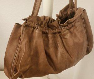 Vintage soft Leder unifarbene Handtasche/ Schultertasche braun