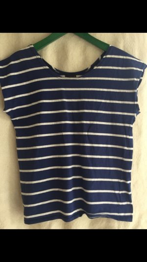 Louis London Gestreept shirt wit-donkerblauw