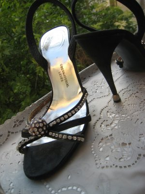 Christian Dior High Heel Sandal black-silver-colored leather