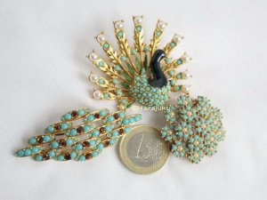 Vintage Brooch gold-colored-turquoise