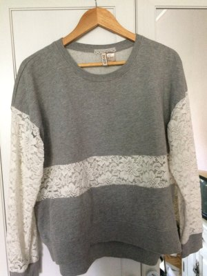Vintage spitze Pullover Pullover in grau