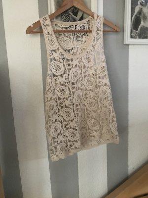 Vintage spitzen Häkel Shirt Größe S/M