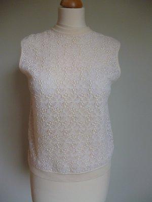 Vintage Spitzentop aus Schurwolle wollweiß